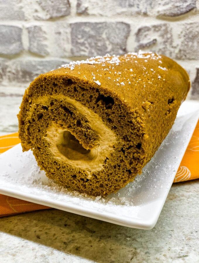 Pumpkin Roll With Pumpkin Spice Cream Cheese Filling