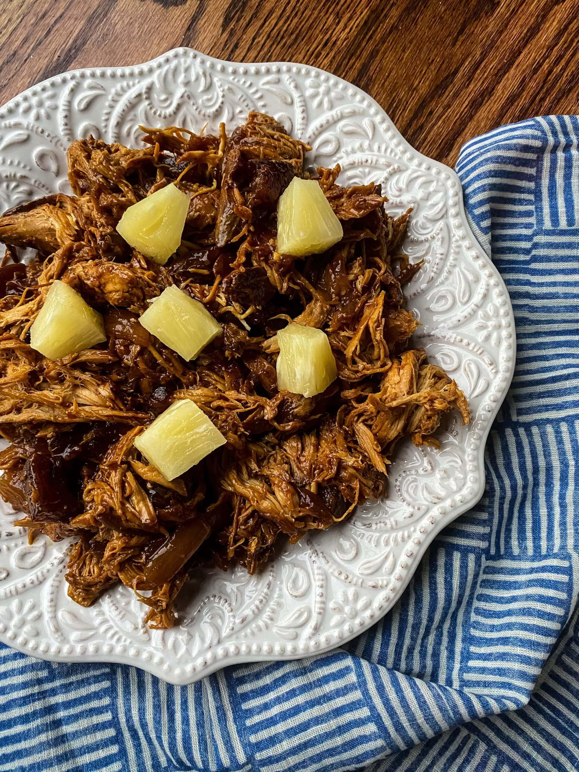Slow Cooker Hawaiian Barbecue Chicken: 5 Ingredients!