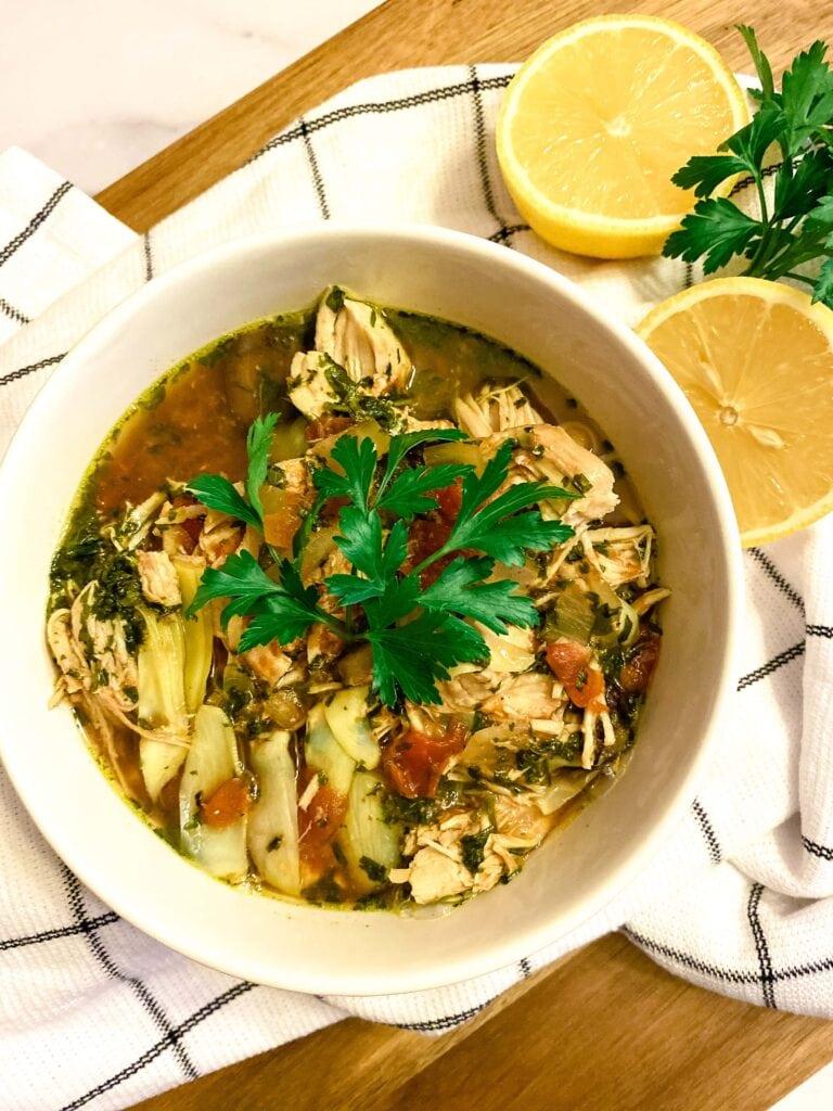 Slow Cooker Mediterranean Chicken Soup
