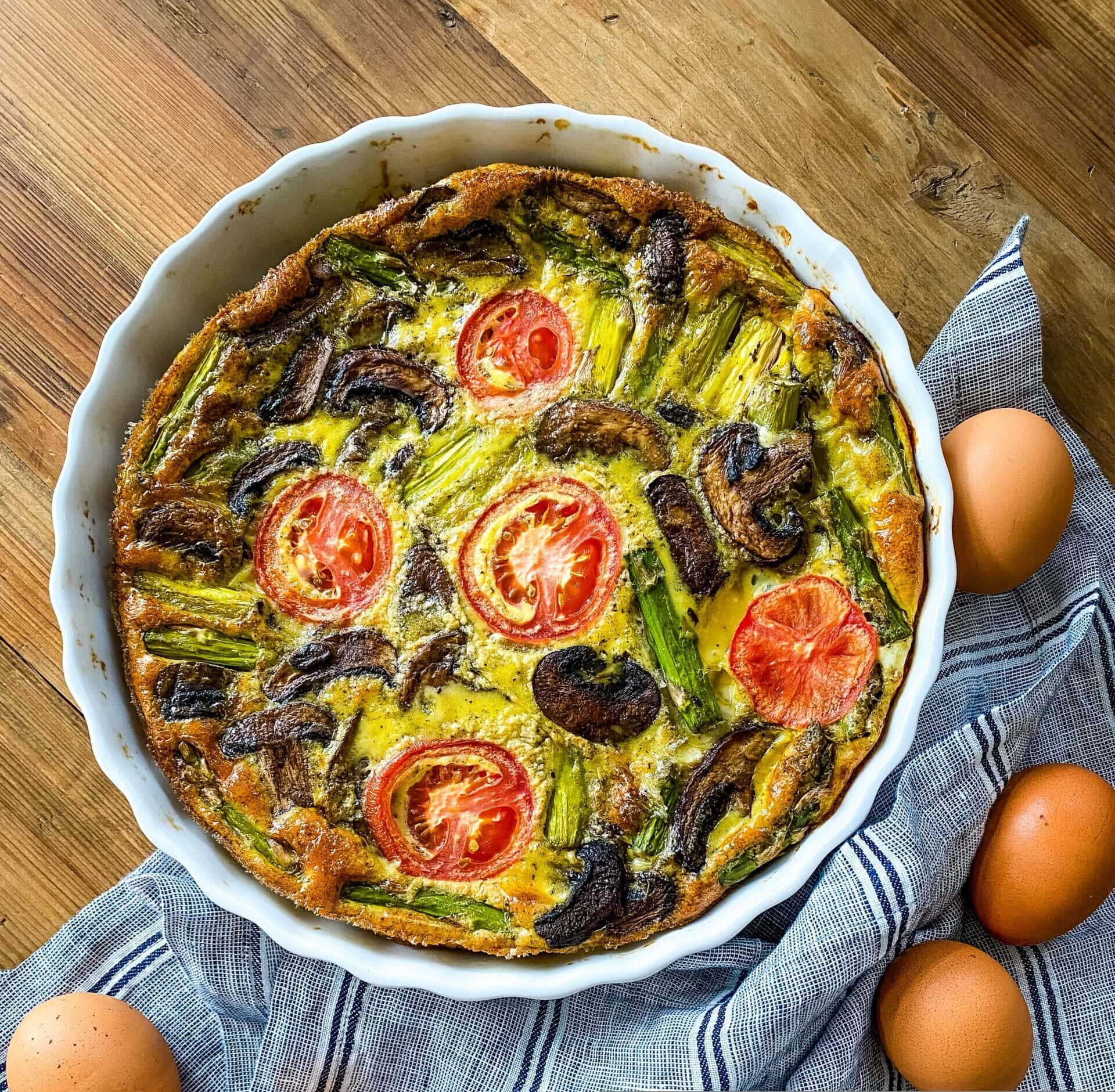 Healthy Mushroom, Asparagus, And Tomato Frittata