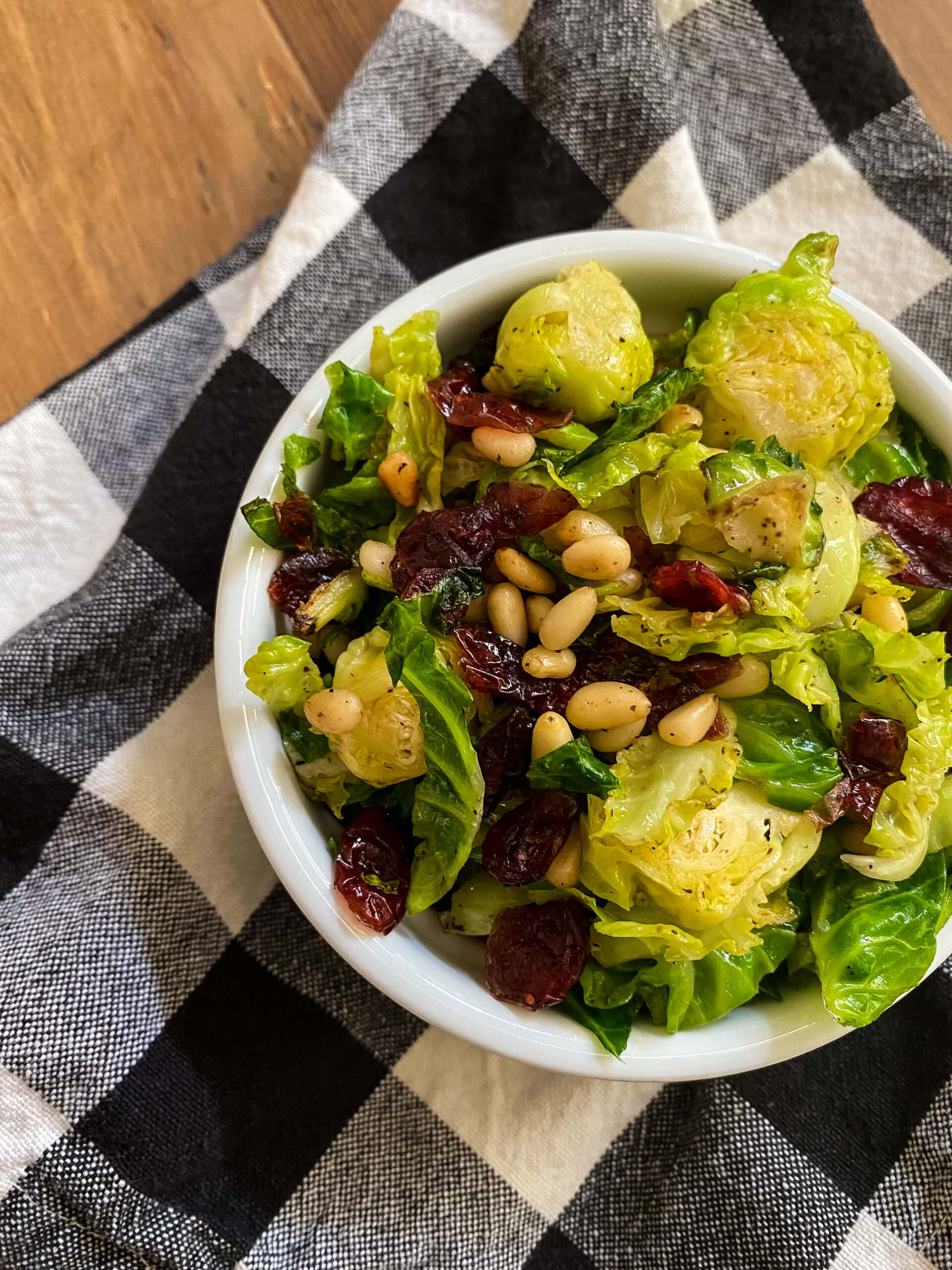 Shaved Brussels Sprouts With Pine Nuts And Cranberries